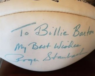 Roger Staubach autographed Football.  Roger that.