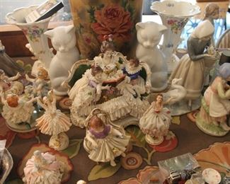 Vintage fine porcelain figurines, Lladro, and Dresden porcelain figurines
