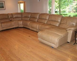 Large tan leather sectional sofa
