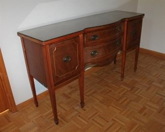 Vintage wood buffet w/ glass