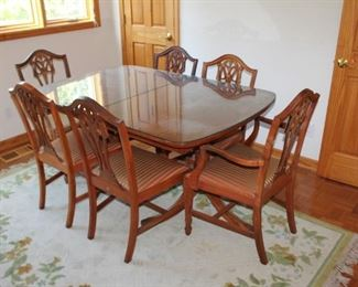 Vintage wood dining table w/ glass