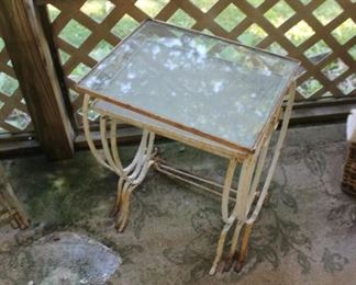 Vintage 3pc wrought iron nesting tables