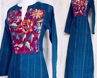70s Denim Dress with woven front insert