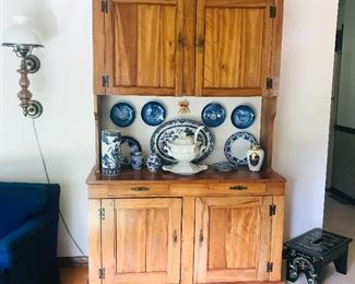 Antique Cupboard, Soup Tureen, Collectible Plates .