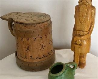 Primitive Scandinavian Tankard, Carved wooden Viking , small pottery pitcher .
