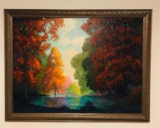 "Painting signed John Humski 20th Century Chicago artist who had resided in Wisconsin. Dated 1970 .   45"" x  34.5"" inc. frame"