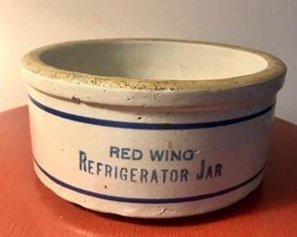 Red Wing Refrigerator Jar with Fountain City advertising inside!
