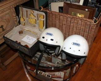 Shoei motorcycle helmets and antique celluloid dressing case