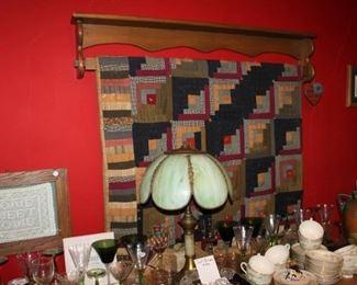 Vintage lamp and vintage quilt