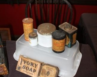 Vintage containers and packaging, tins