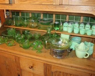 Vintage Jadite glass and Vaseline glass