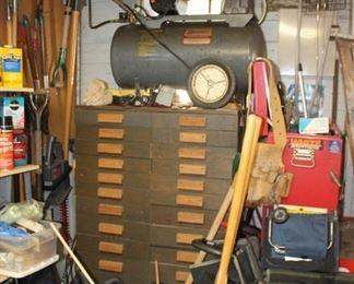 DIY parts / tools organizer and Speedaire air compressor