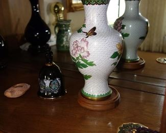 White cloisonne vase with peony and butterfly design