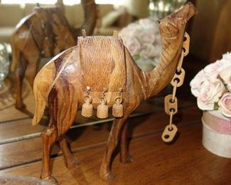 Wood camel sculpture
