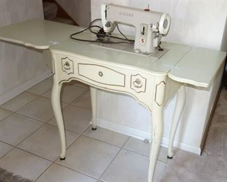 French Provincial style cabinet with Singer sewing machine, open