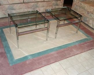 Pair of chrome and glass accent tables
