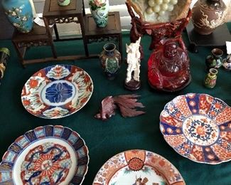 Imari Plates , Amber Buddha,Japanese Cloisonné and other
