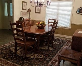 dining room table and china cabinet. 8 chairs.