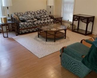 Sun-room couch, coffee table, end tables., occasional table, rug, lamps.