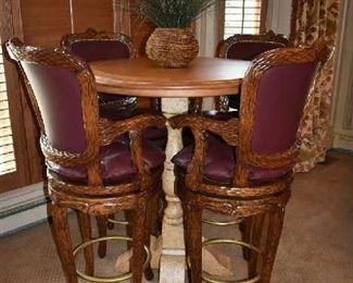 BEAUTIFUL BAR HEIGHT TABLE W/4 CHAIRS