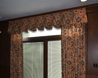 "CUSTOM DRAPERY IN SITTING ROOM- 2 PANELS & VALANCE 101"" IN LENGTH"