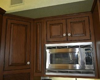 UPPER KITCHEN CABINETS, STAINLESS MICROWAVE
