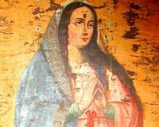School of Cuzco, Virgin Mary of the Assumption  62 x 41 inches.  17 th century circa 1680.