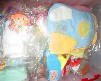 Baby bibs and clothes imported from Peru. New in wrappers. Pimo cotton