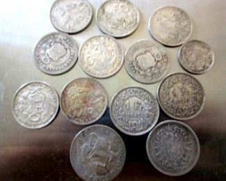 Antique silver coins .900 and .930.  Peru, Portugal, Switzerland, German Reich