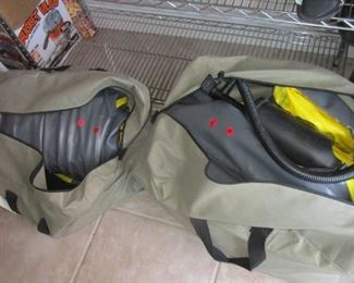 Two inflatable boats which hold 3 persons. Includes life vests and pumps.