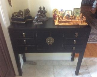 Bookends, religious items ,nice cabinet