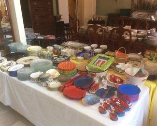 Tables full of outstanding dinnerware.