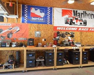 rolling work benches, Nascar, Indy, Marlboro flags & posters