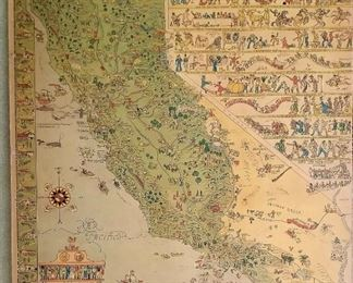 Cool vintage fun map of California