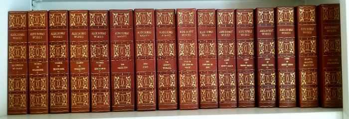 Beautiful large Volume set of Alexander Dumas books. Vintage leather bound in excellent condition. One of two photos
