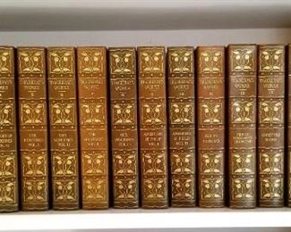 Large leather bound set of Thackaray's works