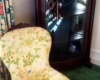 Classic curved glass corner cabinet