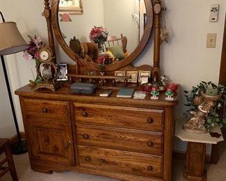 Vintage wood dresser with swivel mirror