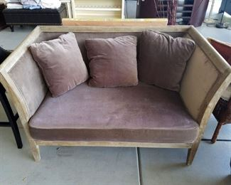 Distressed high back loveseat