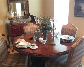 McNabb & Risley Solid wood table with pedestal base and 4 upholstered chairs!  I'm a beauty!
