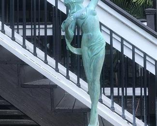 "Feature Statue Bronze,   ""Diana the Huntress""Outdoor concrete garden fountain .  60 inches"
