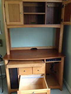 Computer Desk and Hutch with separate matching file cabinet.  Perfect for a child's bedroom!