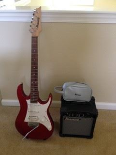 Ibanez Electric Guitar with Digital Tuner and Electric Amp