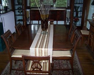 MAHOGANY DINING TABLE--HAS 2 LEAVES & 8 CHAIRS, ORIENTAL-DESIGN AREA RUG