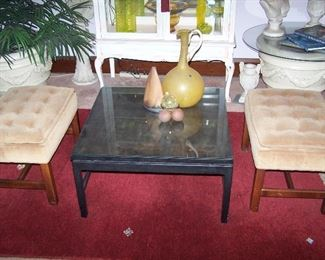 PAIR OF VELVET-COVERED BENCHES, BLACK COFFEE TABLE & SMALLS