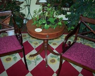 PAIR OF MAHOGANY ARMCHAIRS & PEDESTAL TABLE
