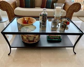 Coffee table, hurricane lamp, marble eggs and pears are sold.