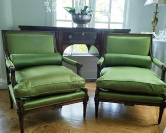 "Pair of Fauteuils French -style with walnut frames         Dimensions:  W 29""  H 36""  seat D 25"""