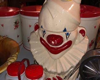 McCoy clown cookie jar and vintage salt/pepper shakers