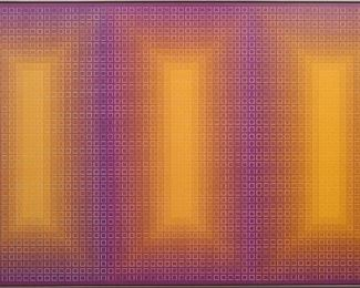 "Julian Stanczak, ""Stratified, 1978""  Acrylic on canvas, 80 3/4 x 50 3/4"" high"